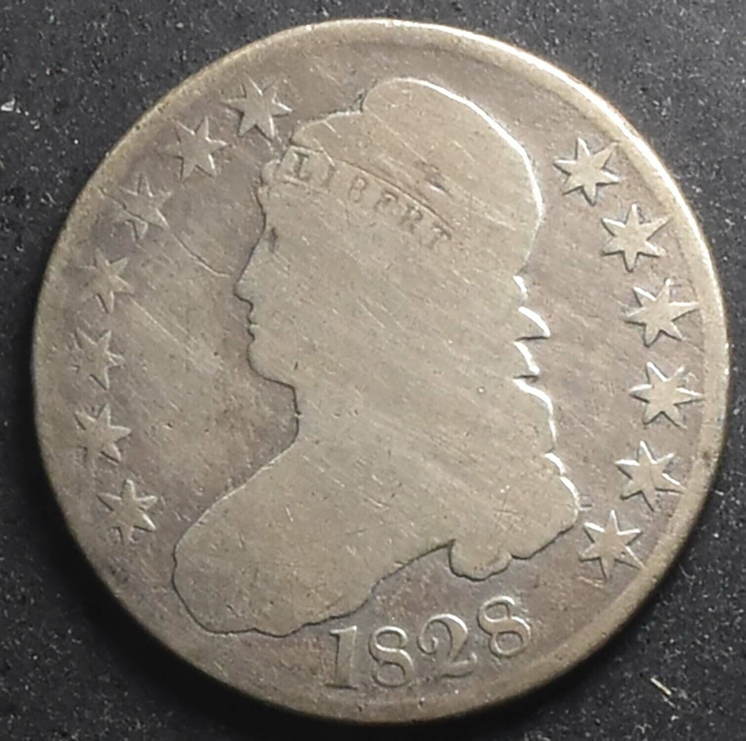 Authentic 1828 Curl Base, No Knob 2 Capped Bust 50c About Good - $39.00
