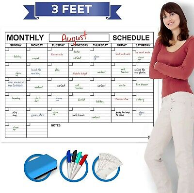 """Large Dry Erase Monthly Wall Calendar 36"""" x 24"""" Big Reusable Schedule Planner..."""