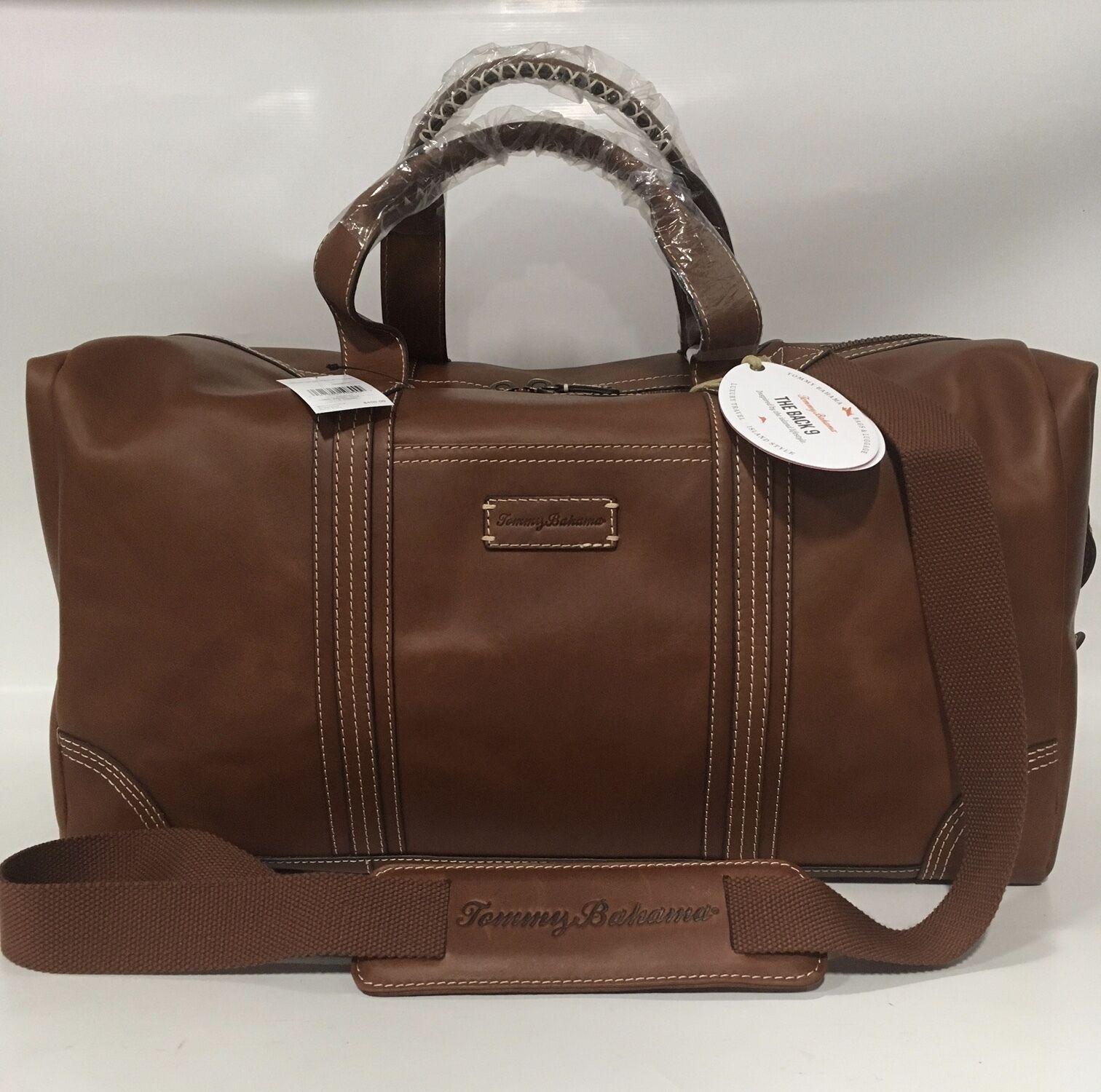 NEW TOMMY BAHAMA BACK 9 GENUINE LEATHER DUFFLE BAG COGNAC 400 DUFFEL - $300.00