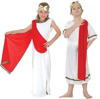 Mädchen oder Jungen weiß rot Römische Toga Schule Kostüm Kleid Outfit 4-14 Jahre