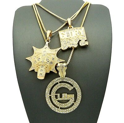 NEW ICED OUT GLO GANG & GLORY BOYZ PENDANTS &BOX CHAINS 3 NECKLACES SET - - Glo Necklaces