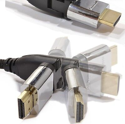 Hdmi Cable Swivel Head - HDMI SWIVEL GOLD CABLE Angle Angled BENT Head Bluray 3DTV Xbox 1m 2m 3m 5m 10m