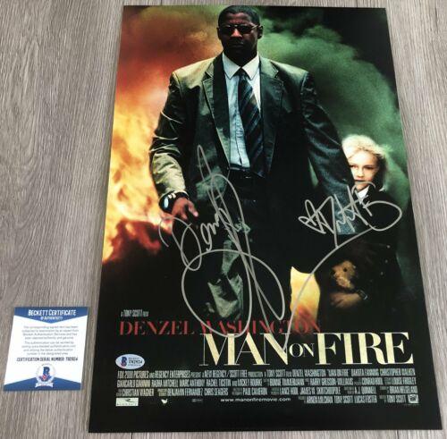 DENZEL WASHINGTON DAKOTA FANNING SIGNED MAN ON FIRE 12x18 PHOTO BECKETT BAS COA