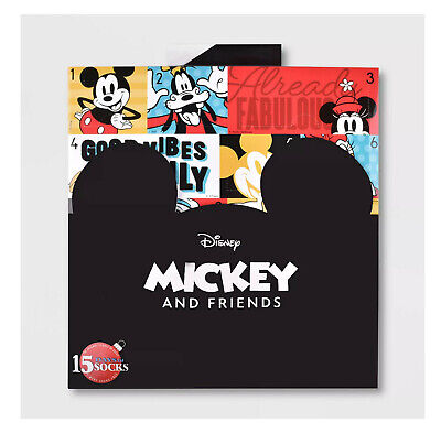 Women's Disney MICKEY MOUSE 15 Days of Socks Advent Calendar Gift Lot 12+3