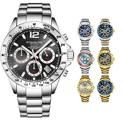 Stuhrling Men's Aquadiver 3961A Japanese Quartz Chronograph Stainless  Bracelet