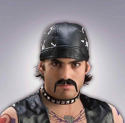 Biker Moustache Fake Mustache 100 % Human Hair Black Fu Manchu Style Stache - Fake Fu Manchu Mustache