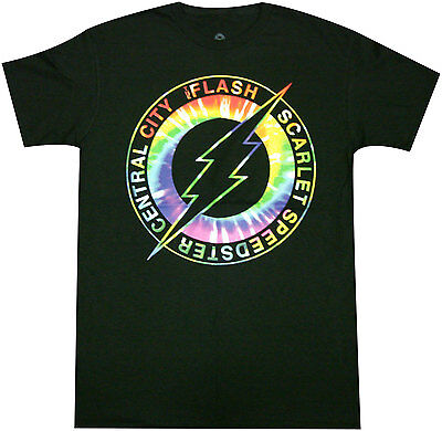 Official DC Comics Flash Central City Scarlet Speedster Tie-Dye Logo Adult Tee (Cheap Tie Dye Shirts)