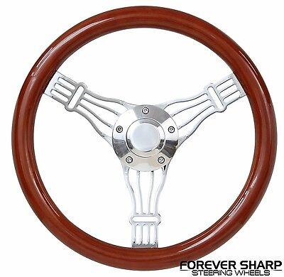 "14"" Boat Marine Light Wood Banjo Steering Wheel w/ 3/4"" Tapered Keyway Adapter"