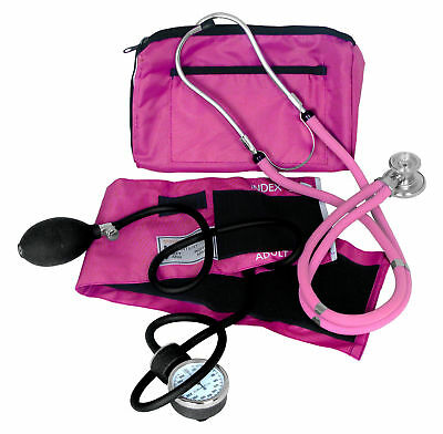 Dixie Ems Professional Blood Pressure Kit W Sprague Stethoscope Pink