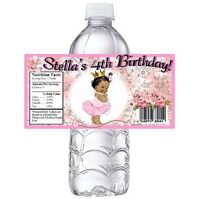 20 BALLERINA PRINCESS PERSONALIZED BIRTHDAY PARTY FAVORS WATER BOTTLE LABELS