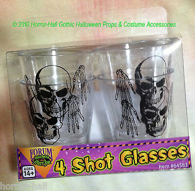 Gothic Skeleton SKULL SHOT GLASSES Drink Bar Halloween Prop Decorations-4-pc SET - Halloween Bar Shots