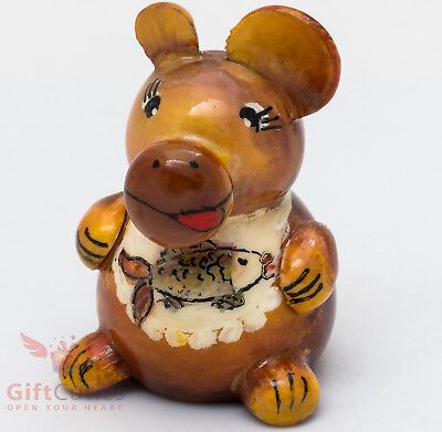 Porcelain Author Gzhel Hand Painted Figurine Mother Begemot with the Child HIPPO