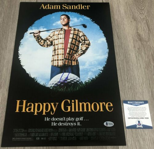 ADAM SANDLER SIGNED HAPPY GILMORE 12x18 PHOTO w/EXACT PROOF & BAS BECKETT COA