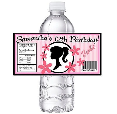 20 CLASSIC BARBIE PERSONALIZED BIRTHDAY PARTY FAVORS WATER BOTTLE LABELS - Barbie Party Favors