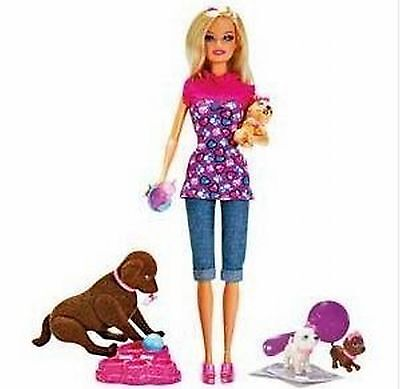 Barbie Brown Taffy Dog and 3 Puppies Playset Accessories V3262 Doll 2010 NEW