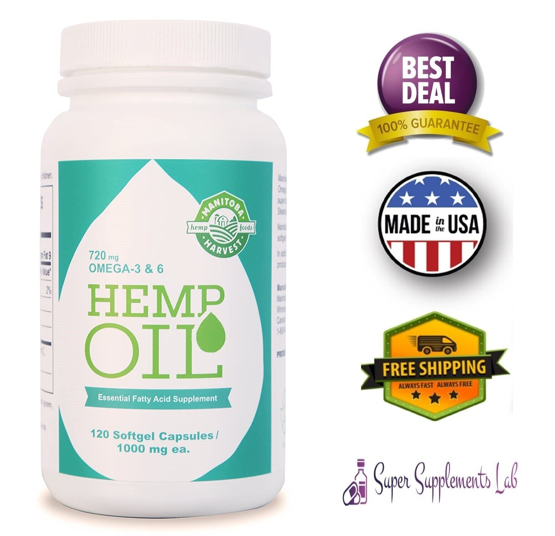COLD PRESSED HEMP SEED OIL CAPSULES 1000 mg 120 Softgels Omega 3 6 9 Fatty Acids