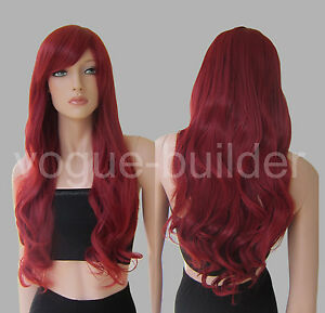 Heat Resistant 70cm Long Big Wavy Curly Cosplay Full Wig 17 Color Free shipping