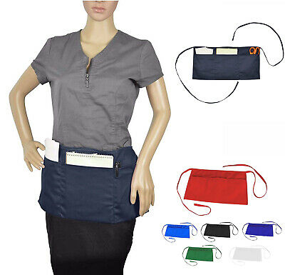 Cleaning Waist Half Bib Apron Kitchen Heavy Duty 3 Pocket Dining Cooking 6 Color