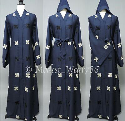Dubai Open Abaya Kaftan Kimono Cardigan Maxi Dress Floral Embroidery Navy
