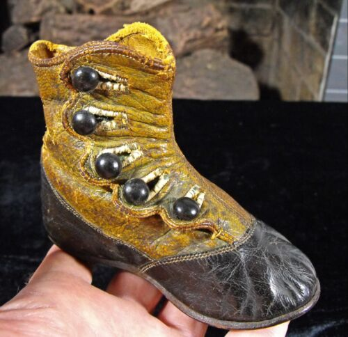antique Victorian child's leather shoe boot Buster Brown 1870's striped lining