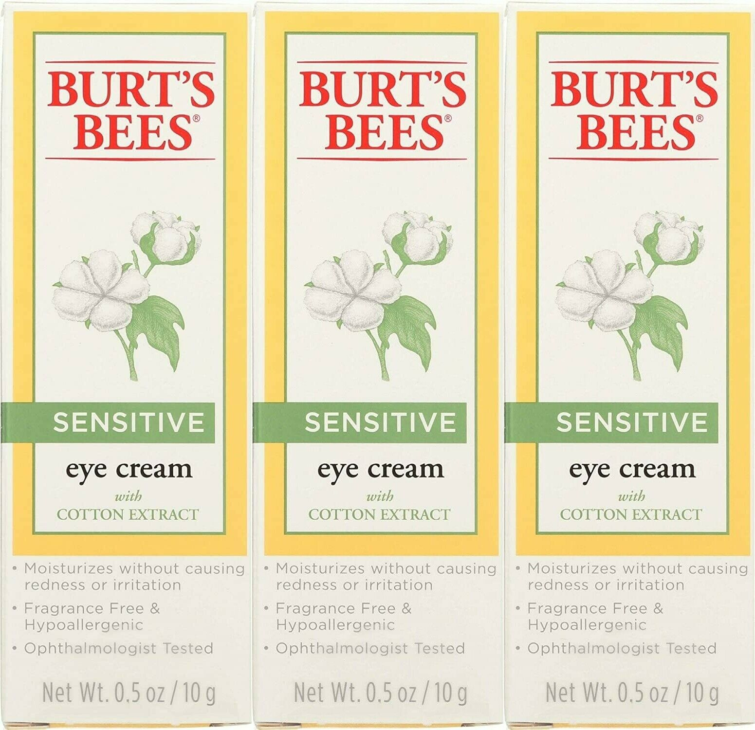 Burts Bees Eye Cream Sensitive Cotton Extract Reduces Puffiness 0.5 oz – 3 Pack Eye Treatments & Masks