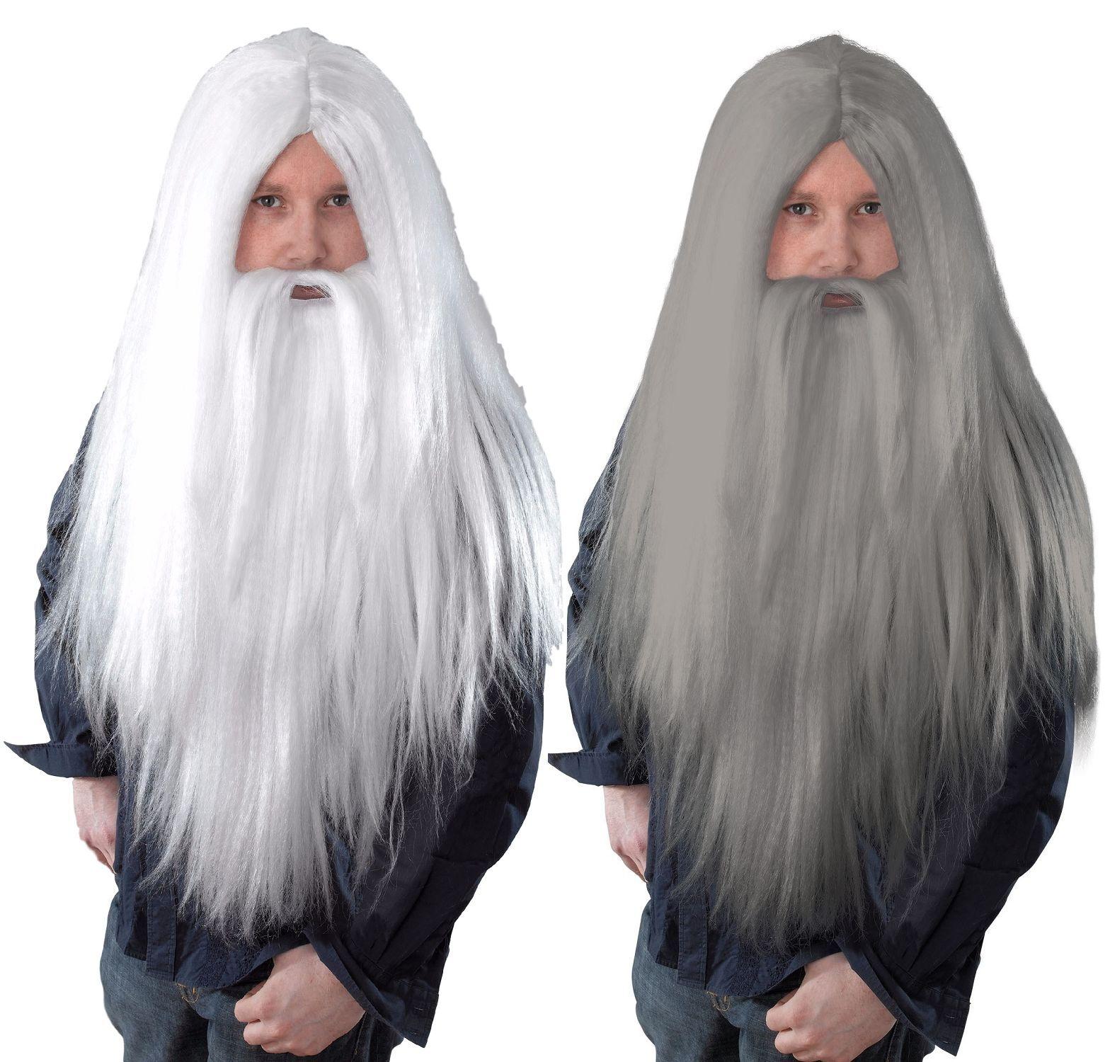 Adulto Men/'s Bianco Parrucca RICCIA CON BARBA E BAFFI Parrucca FANCY DRESS