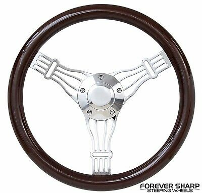"14"" Boat Marine Dark Wood Banjo Steering Wheel w/ 3/4"" Tapered Keyway Adapter"