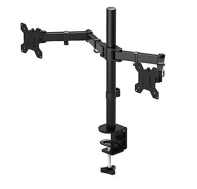 "Double Twin Arm Desk Mount TV LCD Monitor Computer Screen Bracket Dual 13""-27"""