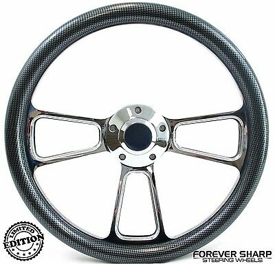 "14"" Marine Boat Chrome Billet Steering Wheel w/ Carbon Fiber Set 3/4"" Key Way"