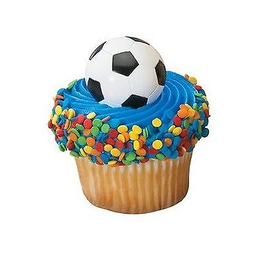 SOCCER RINGS PARTY CUPCAKE TOPPERS CAKE DECORATIONS SPORTS FAVORS 24  PC SET - Soccer Cupcake Toppers