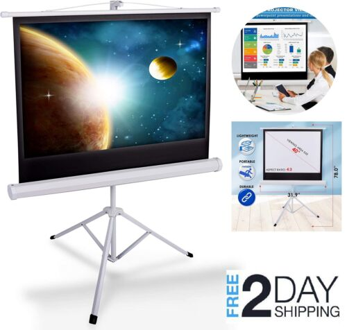"""Portable Projector Screen Tripod Stand 40"""" Mobile Projection Screen Conference"""