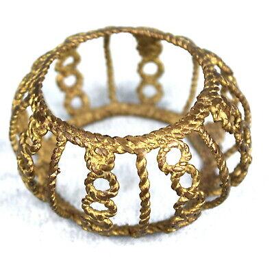 Art African Tribal Ethnic - Bracelet Bronze Akan Baoulé Openwork Golden 7 CMS