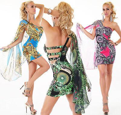 Sexy Designer Kleider (SEXY ONE SHOULDER MINI KLEID PFAU LEO DESIGN DRESS SUMMER PARTY BEACH 34-38)