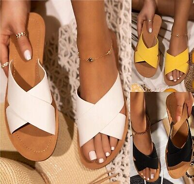 LADIES WOMENS FLAT SLIP ON MULE SUMMER BEACH HOILDAY BEACH SANDALS SLIDERS SIZE