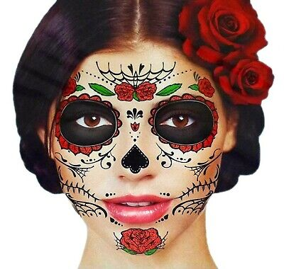 Glitter Red Roses Day of the Dead Sugar Skull Temporary Face Tattoo Kit -