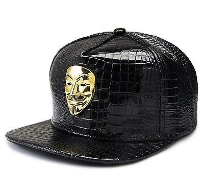 V for Vendetta Mask Fawkes Halloween 3D DIY croc skin patent leather snaback hat - Diy Halloween Hats