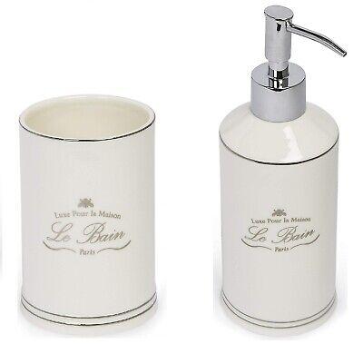 Kassatex Paris French Le Bain Bath Accessory Set CUP/TUMBLER & LOTION/SOAP