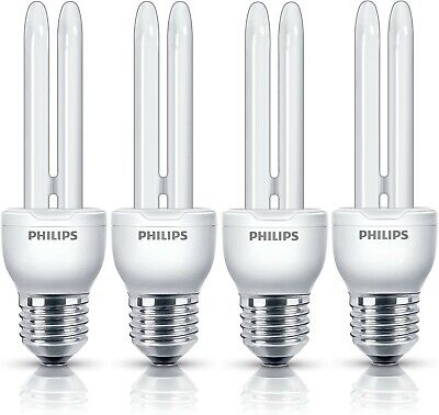 Pack of 4 Philips Compact Fluorescent Economy Bulbs (11w, E27, 6500k)