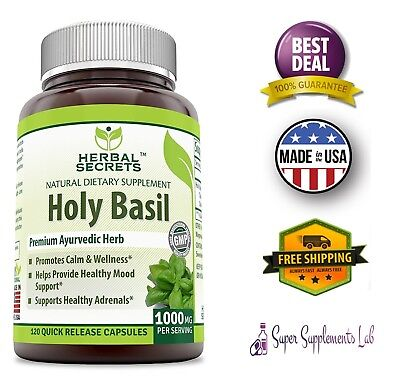 Leaf Relief - HOLY BASIL 1000 Mg per Serving 120 Capsules PURE LEAF EXTRACT Stress Relief