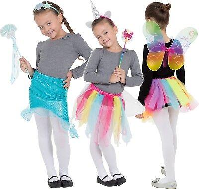 Mädchen Fee Meerjungfrau Einhorn Heller Regenbogen Spaß Kostüm Kleid Outfit Satz
