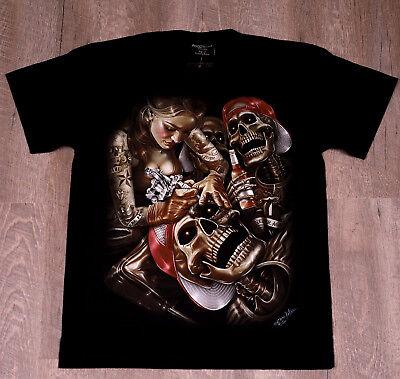 Fantasy T-Shirt Tattoo Skelett Print, leuchtet im Dunkeln, Baumwolle, schwarz (Schwarz Skelett Shirt)