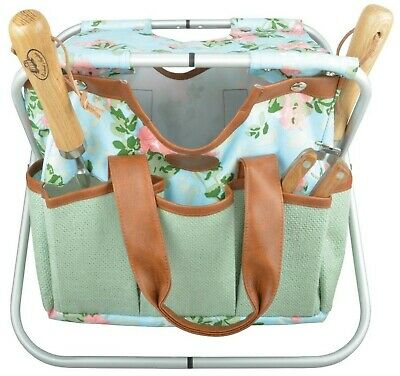 Garden Tool Storage Stool & Detachable Bag with Multiple Pockets Portable Wee...