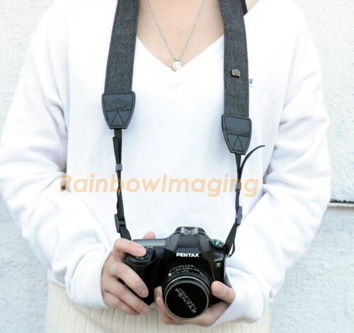 Vintage Classic Black Weave Camera Shoulder Neck Strap Belt Canon Nikon DSLR