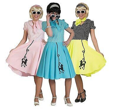 Damen 1950er Jahre 50er Pudel Gepunktetes Kleid Schal Hen Kostüm - Pudel Rock Kleid Kostüm