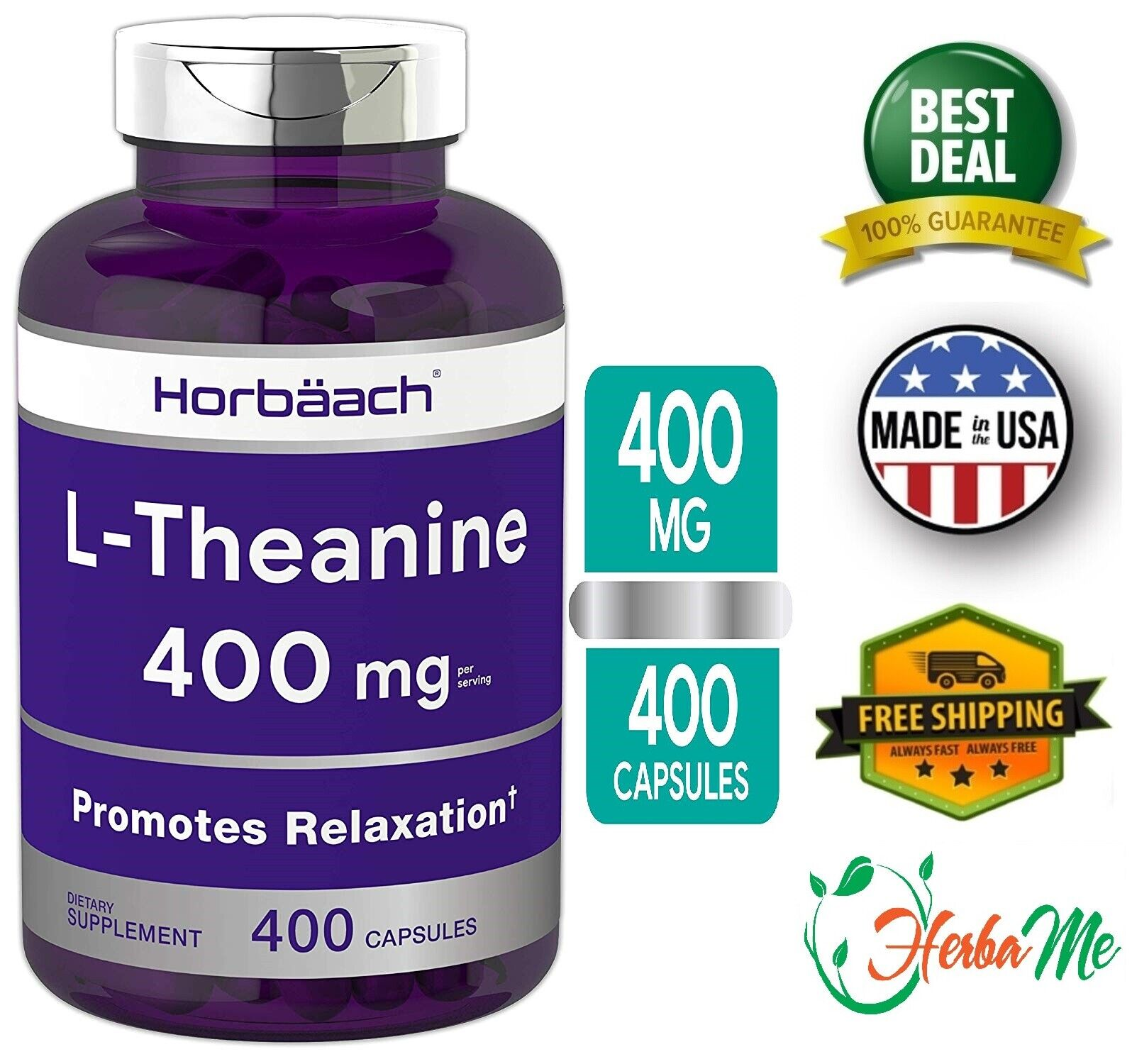 L-THEANINE 400 mg 400 Capsules Amino Acid Support Relax & Calm Mood Supplement