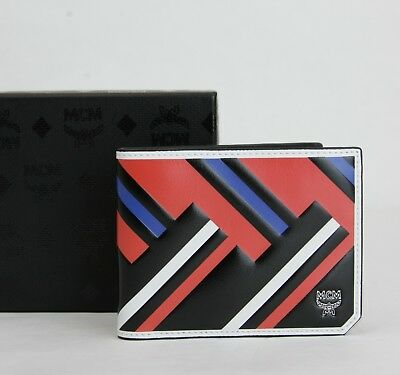 MCM Men's Black Red Blue Leather Bi-Fold Wallet w/Logo MXS8SCE83BB001 Blue Bi Fold Wallet