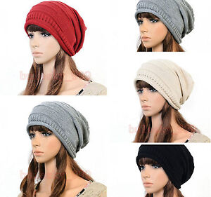 Fashion-Unisex-Winter-Plicate-Baggy-Beanie-Knit-Crochet-Ski-Hat-Cap-5-Color-New