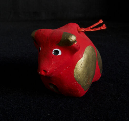 Japanese Old Clay Bell Dorei 1985 : design Red Cow : from Jindaiji Tokyo