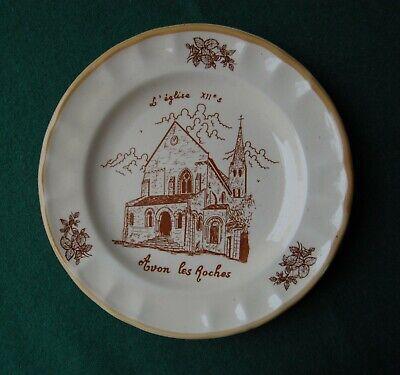 Church Notre-Dame d'Avon les Roches Plate - French Souvenir - Retro Rustic Decor