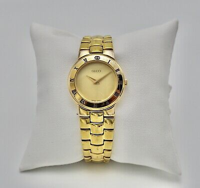 Gucci 3300 Authentic Swiss Made Gold Plate Watch w/ New Battery